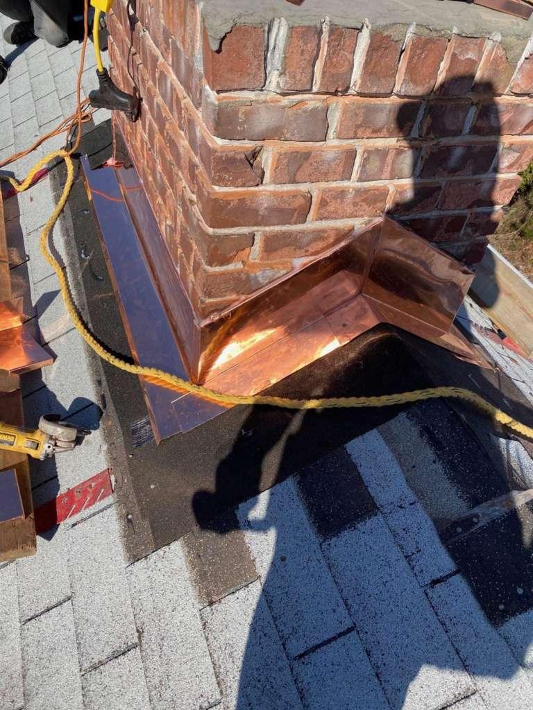 Copper Chimney Flashing Installation Service Project Shot 2