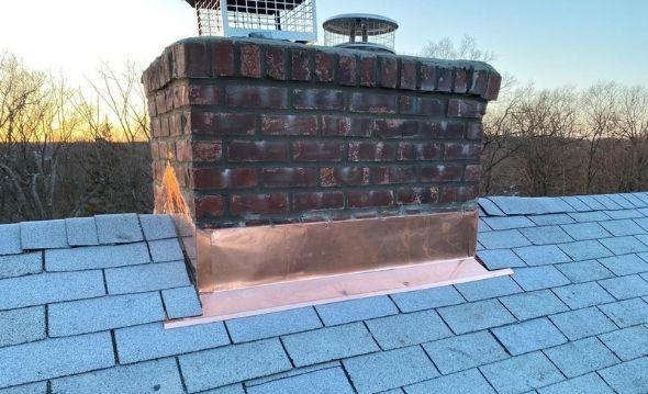Copper Chimney Flashing Installation Service Project Shot